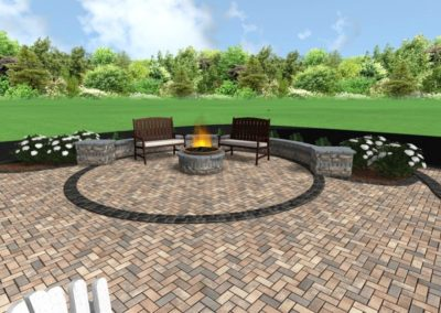 Sample Landscape Plan Fire Pit and Sitting Wall